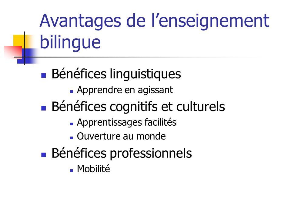 Avantages de lenseignement bilingue Bénéfices linguistiques Apprendre en agissant Bénéfices cognitifs et culturels Apprentissages facilités Ouverture au monde Bénéfices professionnels Mobilité