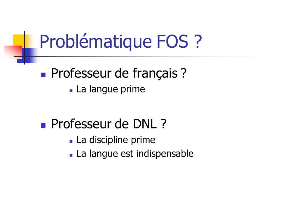 Problématique FOS .Professeur de français . La langue prime Professeur de DNL .