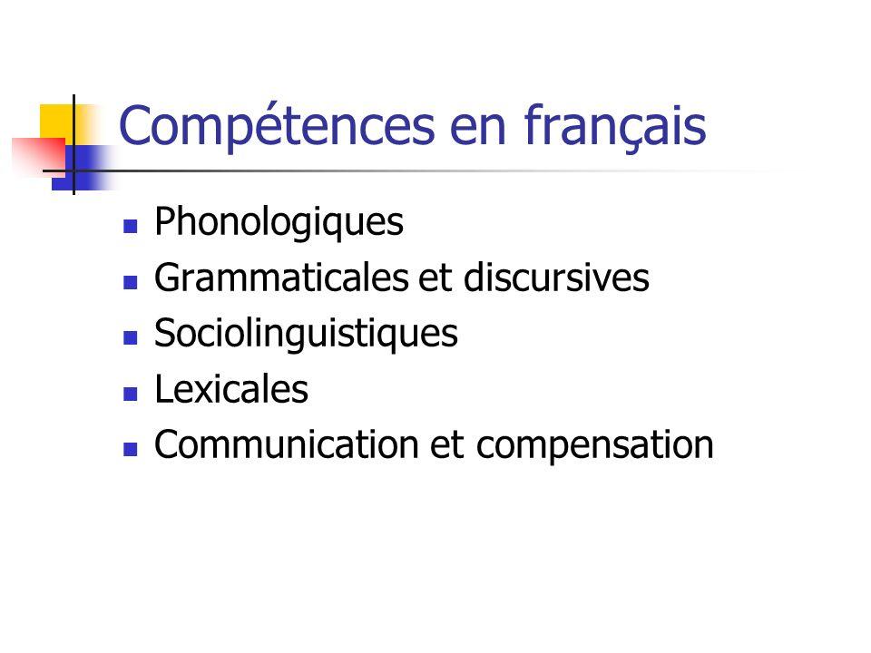 Compétences en français Phonologiques Grammaticales et discursives Sociolinguistiques Lexicales Communication et compensation