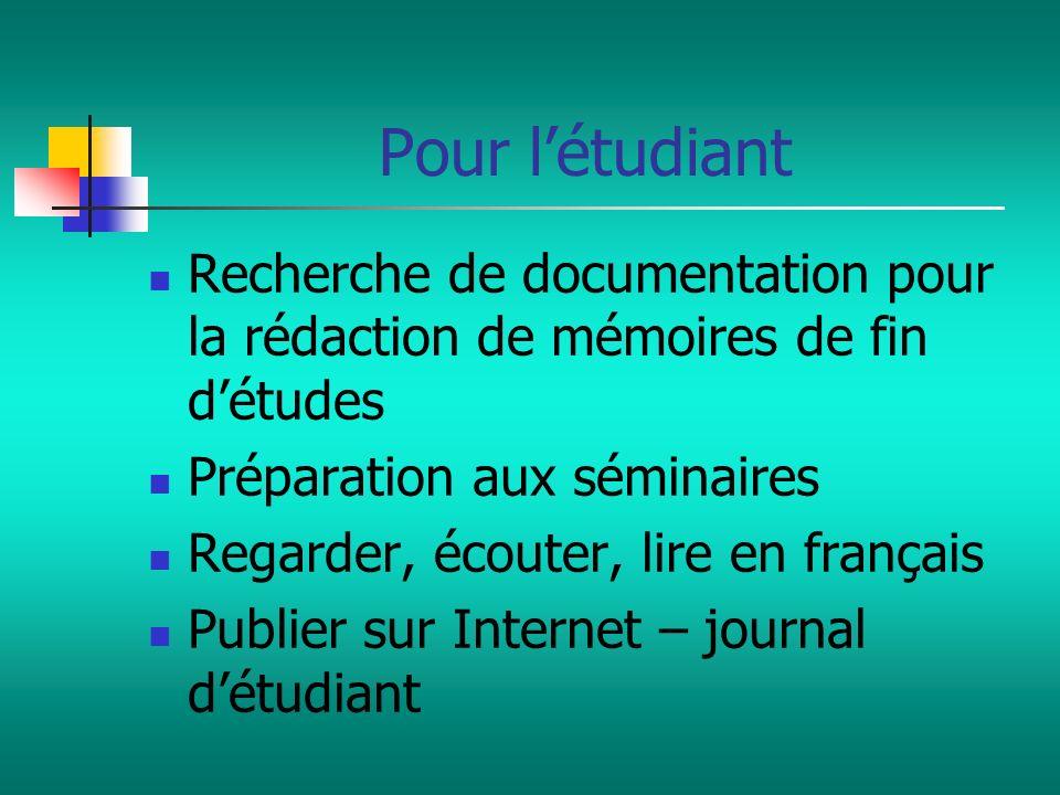 Recherche de documentation pour la rédaction de mémoires de fin détudes Préparation aux séminaires Regarder, écouter, lire en français Publier sur Int