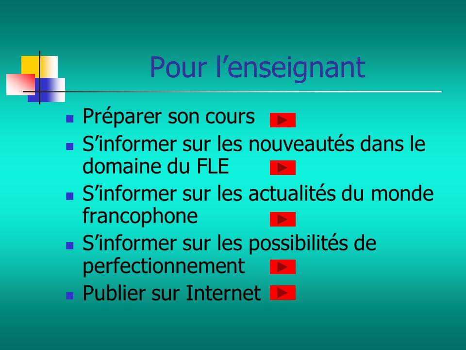 Pour lenseignant Préparer son cours Sinformer sur les nouveautés dans le domaine du FLE Sinformer sur les actualités du monde francophone Sinformer su