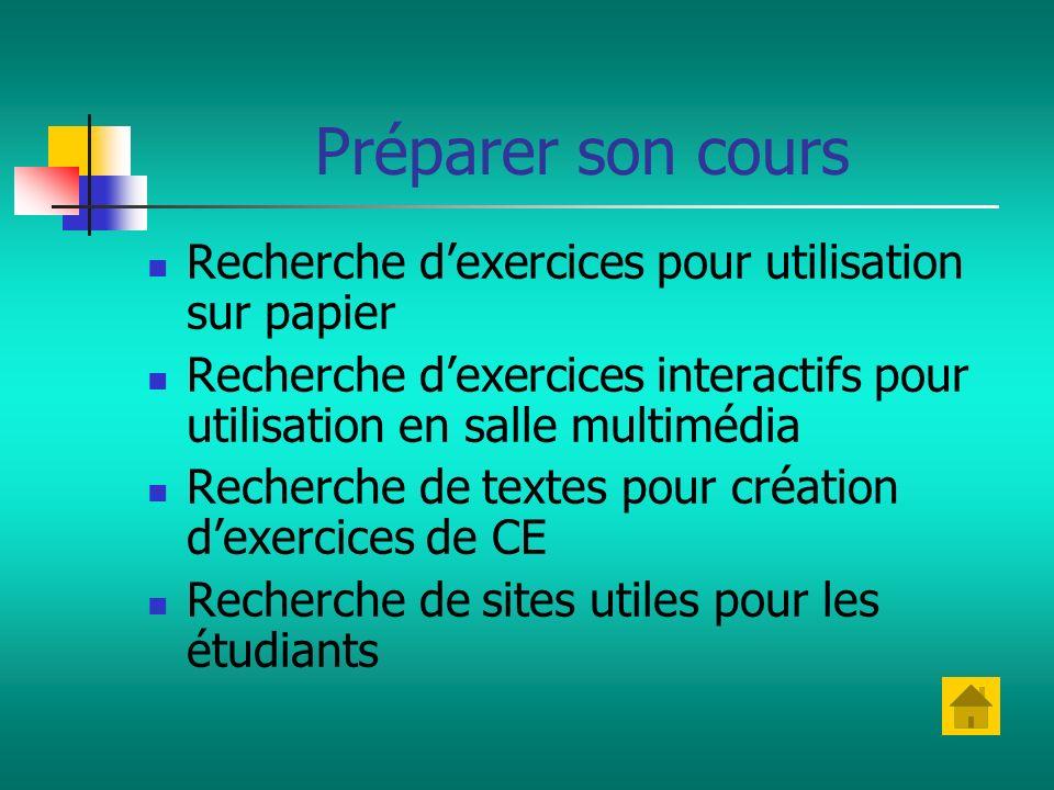 Préparer son cours Recherche dexercices pour utilisation sur papier Recherche dexercices interactifs pour utilisation en salle multimédia Recherche de