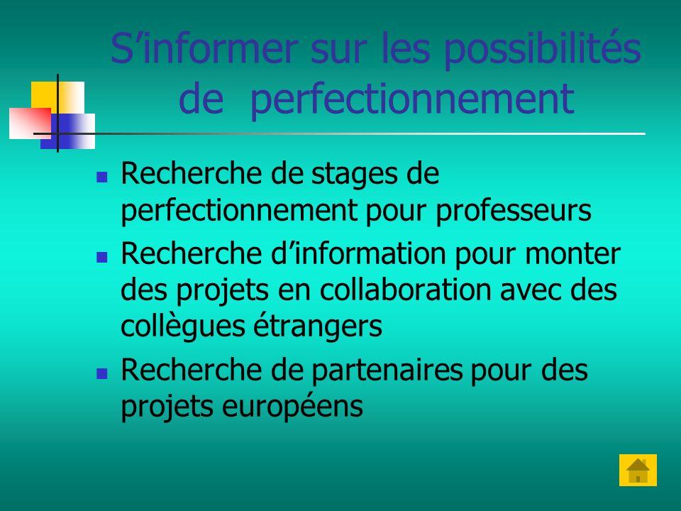 Sinformer sur les possibilités de perfectionnement Recherche de stages de perfectionnement pour professeurs Recherche dinformation pour monter des pro