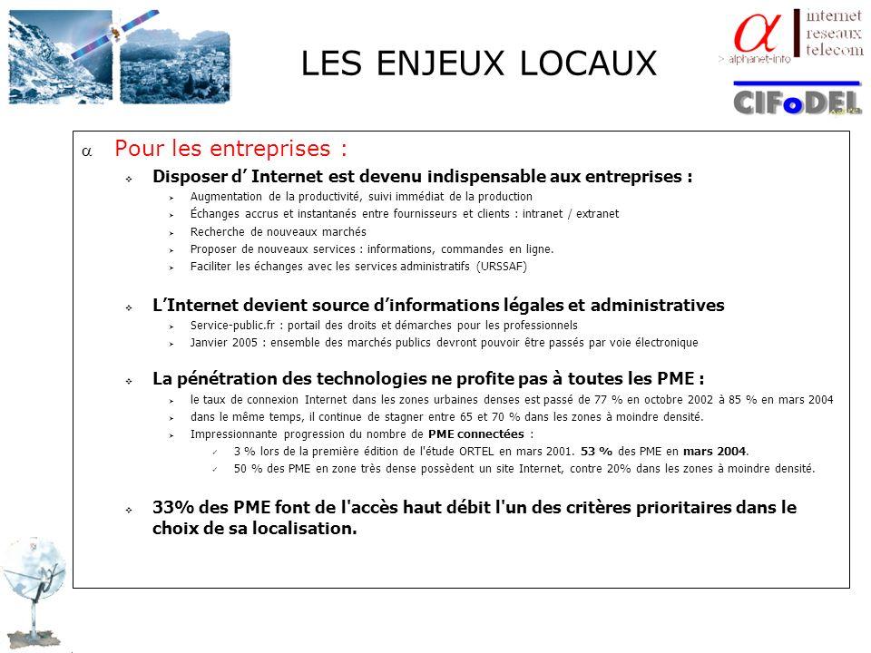 LES ENJEUX LOCAUX Pour les entreprises : Disposer d Internet est devenu indispensable aux entreprises : Augmentation de la productivité, suivi immédia