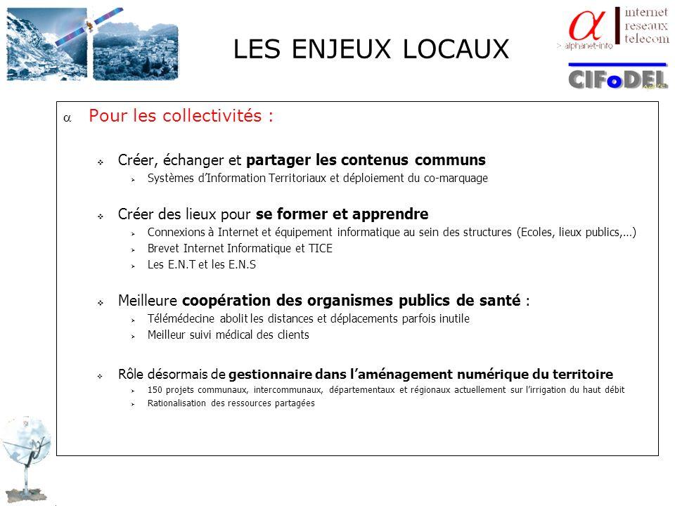 LES ENJEUX LOCAUX Pour les collectivités : Créer, échanger et partager les contenus communs Systèmes dInformation Territoriaux et déploiement du co-ma