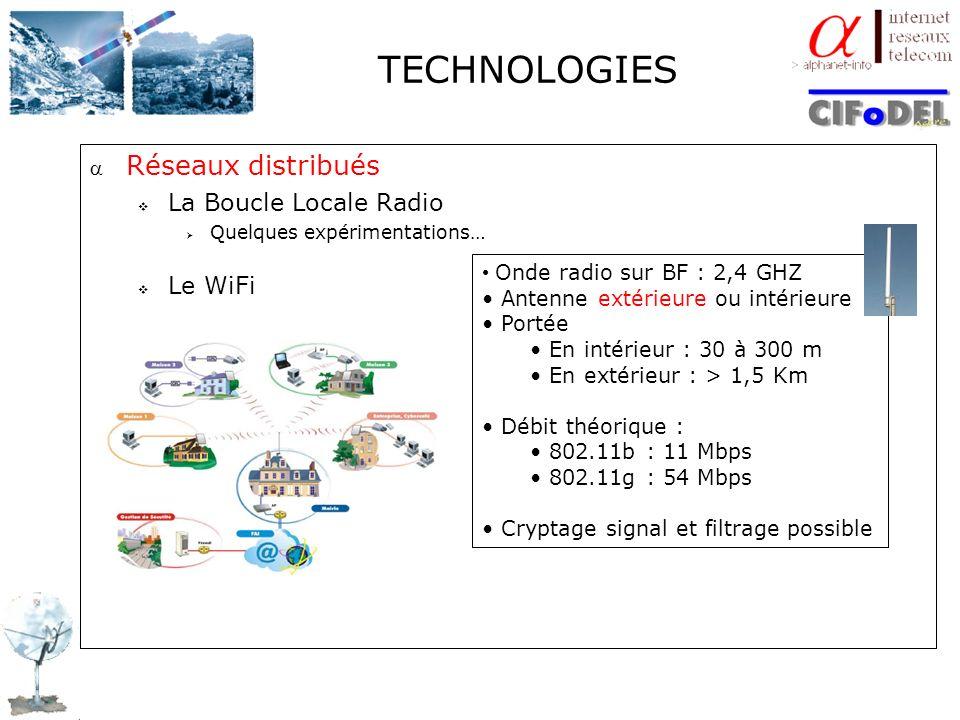 TECHNOLOGIES Réseaux distribués La Boucle Locale Radio Quelques expérimentations… Le WiFi Onde radio sur BF : 2,4 GHZ Antenne extérieure ou intérieure