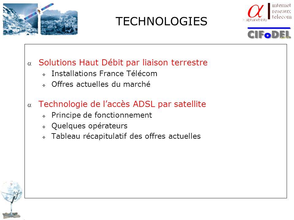 TECHNOLOGIES Solutions Haut Débit par liaison terrestre Installations France Télécom Offres actuelles du marché Technologie de laccès ADSL par satelli