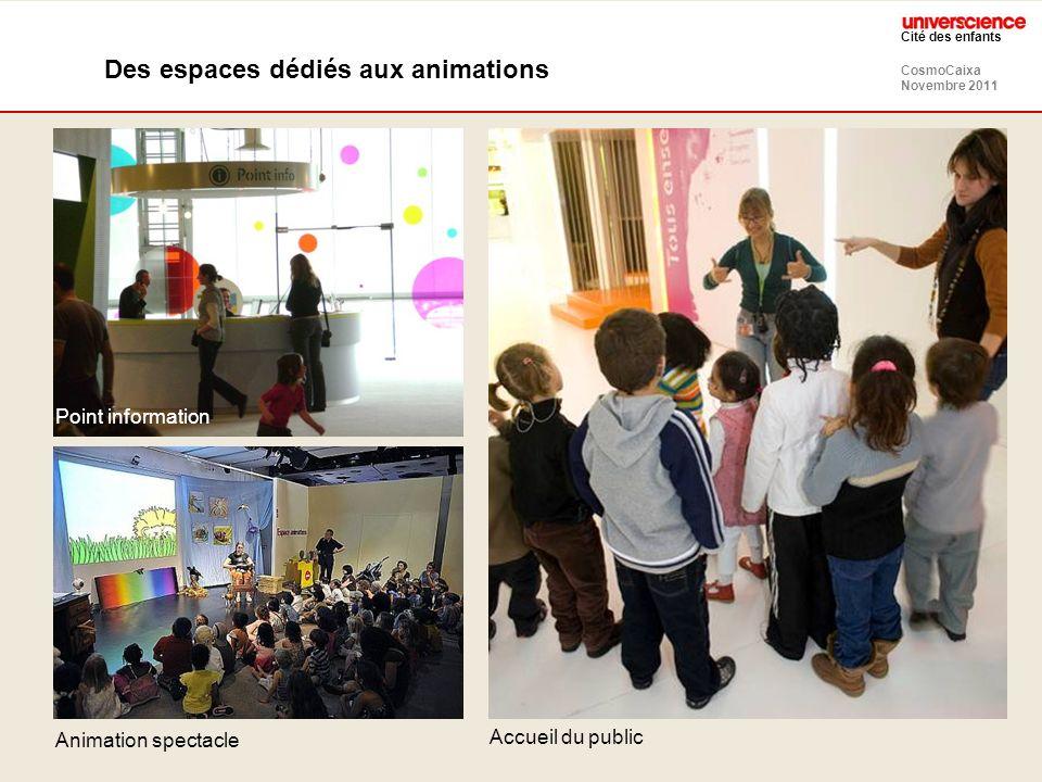 CosmoCaixa Novembre 2011 Cité des enfants Des espaces dédiés aux animations Point information Animation spectacle Accueil du public