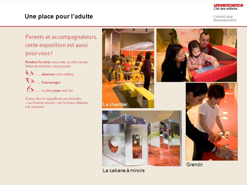 CosmoCaixa Novembre 2011 Cité des enfants Une place pour ladulte Grandir La cabane à miroirs Le chantier