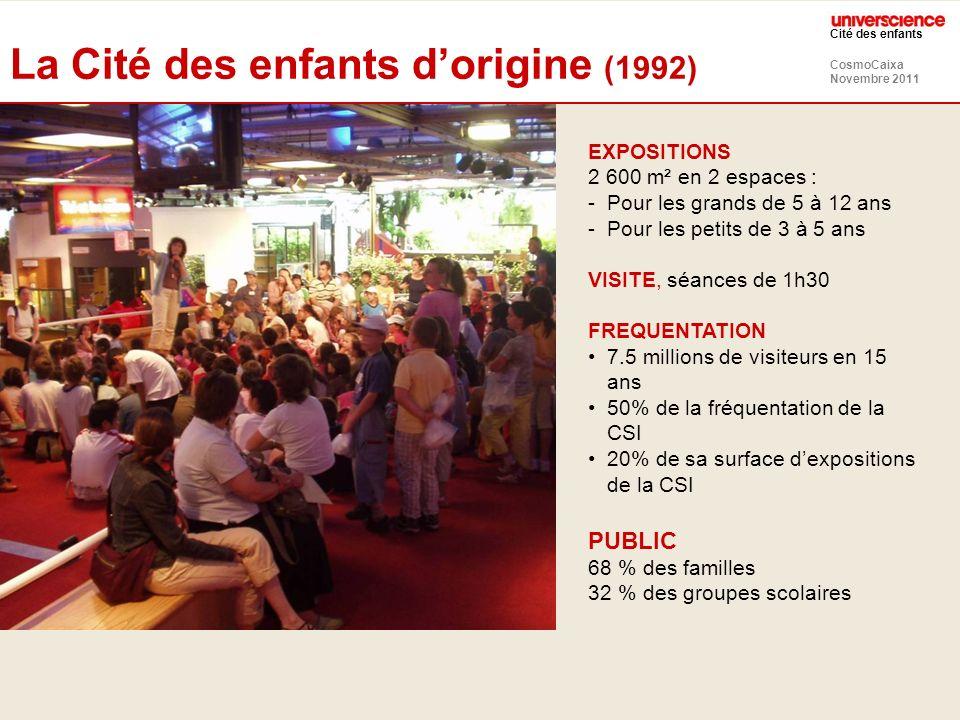 CosmoCaixa Novembre 2011 Cité des enfants Exemple : jeu dassociation Nouvelle CDE 2-7 ans Ancienne CDE 3-5 ans