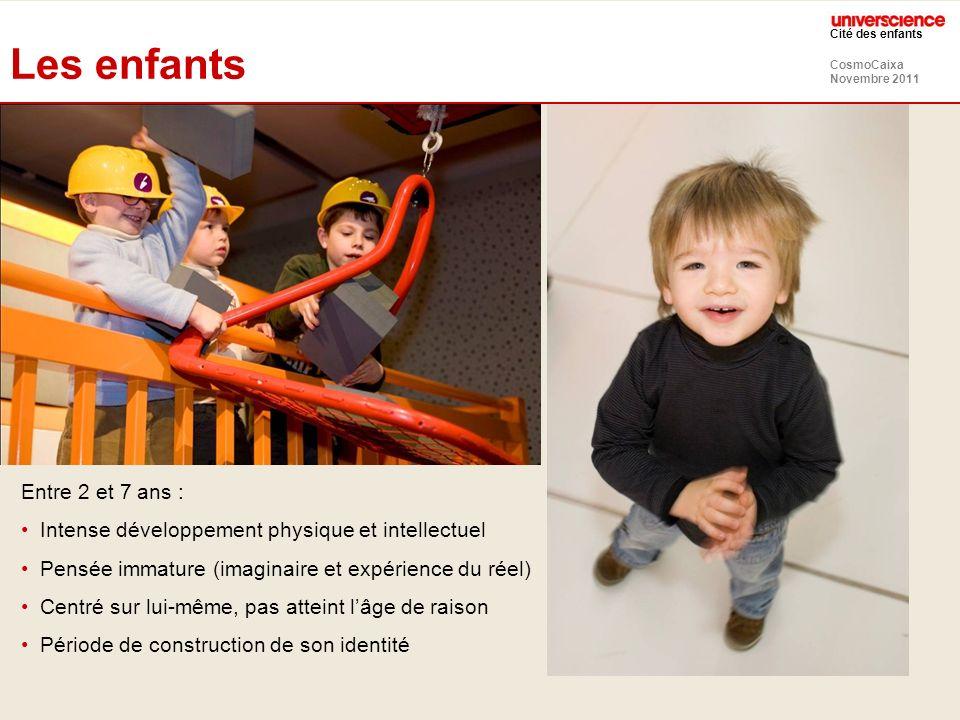 CosmoCaixa Novembre 2011 Cité des enfants Les enfants Entre 2 et 7 ans : Intense développement physique et intellectuel Pensée immature (imaginaire et