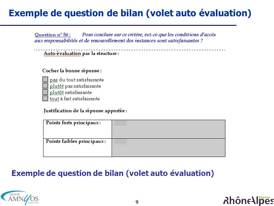 9 Exemple de question de bilan (volet auto évaluation)