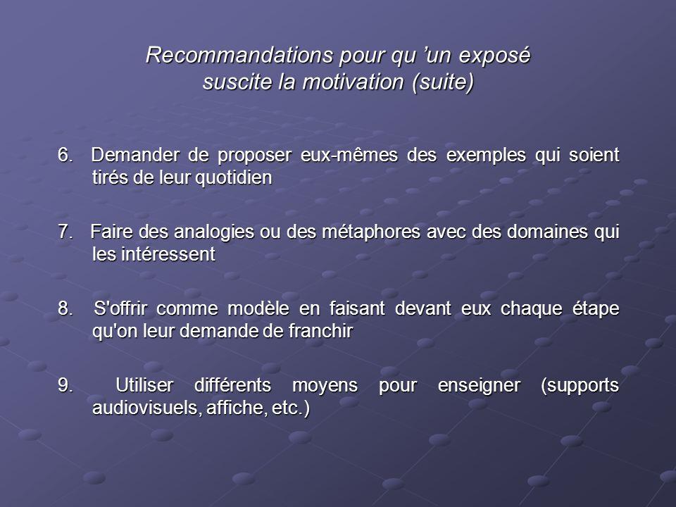 Recommandations pour qu un exposé suscite la motivation (suite) 6.