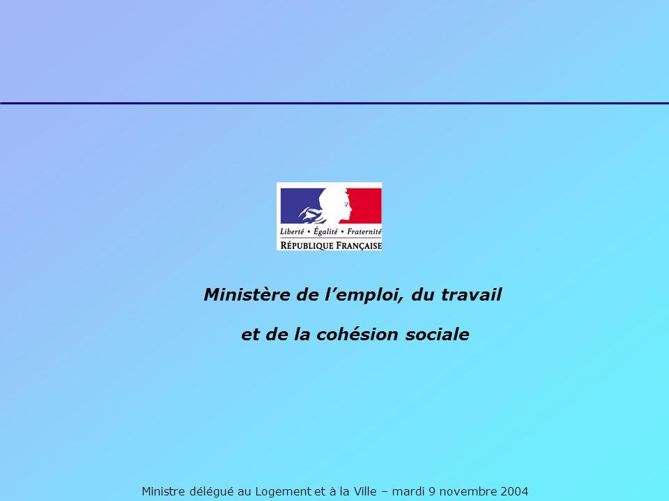 Ministre délégué au Logement et à la Ville – mardi 9 novembre 2004 Ministère de lemploi, du travail et de la cohésion sociale
