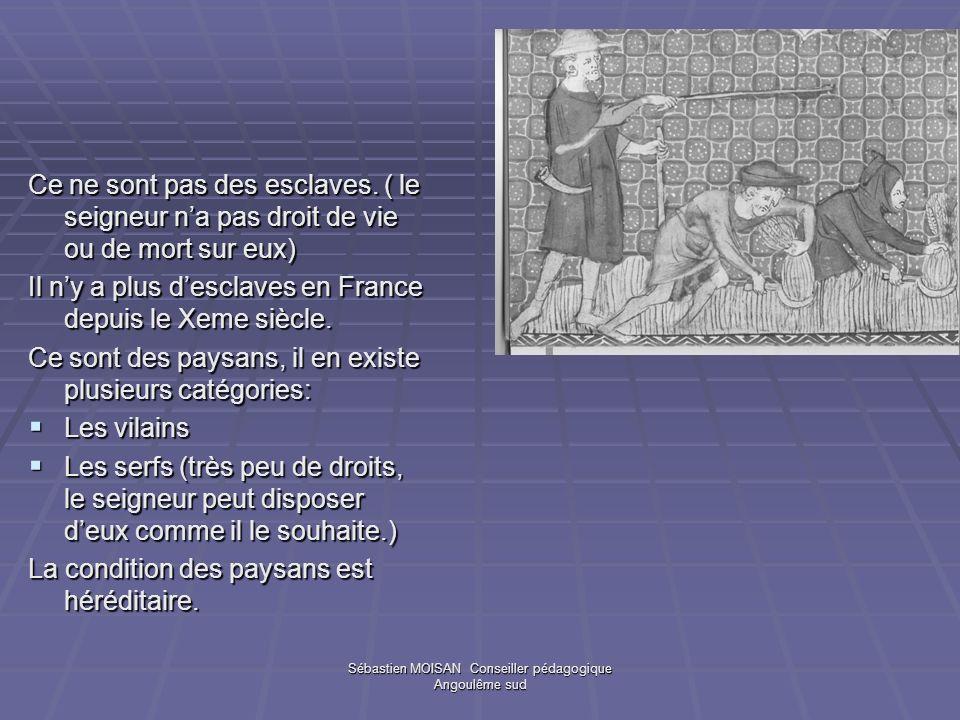 Sébastien MOISAN Conseiller pédagogique Angoulême sud Ce ne sont pas des esclaves. ( le seigneur na pas droit de vie ou de mort sur eux) Il ny a plus