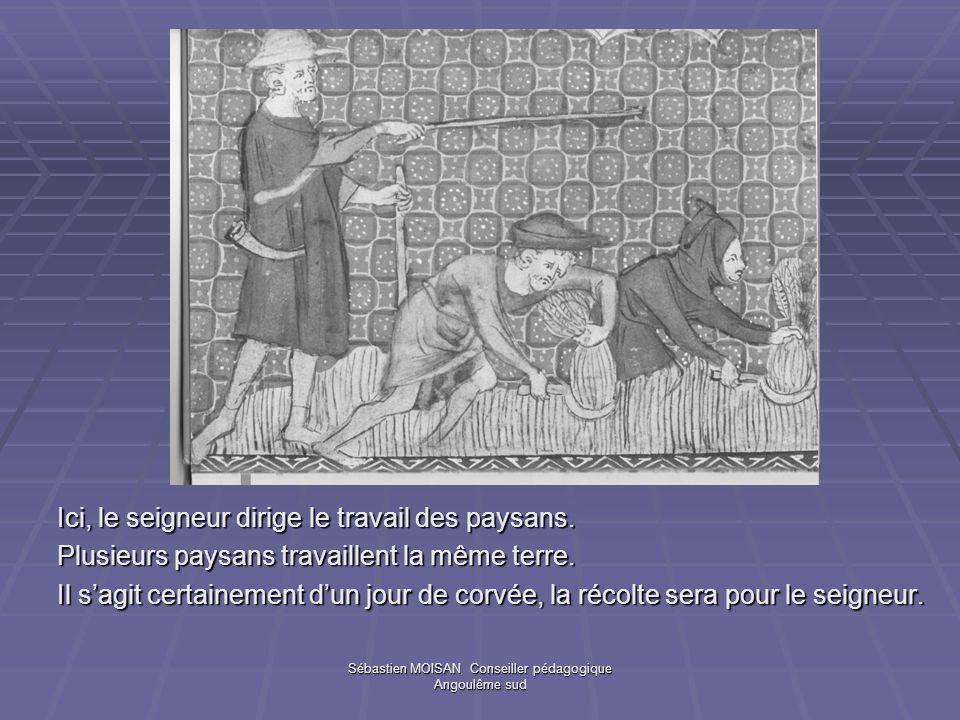 Sébastien MOISAN Conseiller pédagogique Angoulême sud Ici, le seigneur dirige le travail des paysans. Plusieurs paysans travaillent la même terre. Il