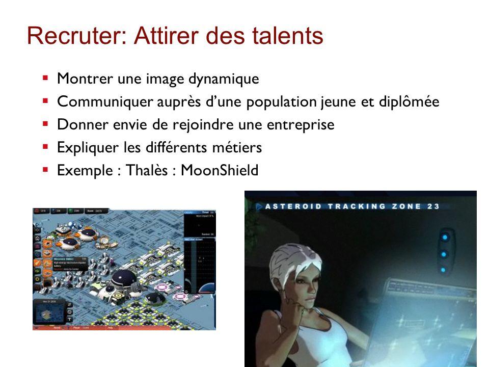 Recruter: Attirer des talents Montrer une image dynamique Communiquer auprès dune population jeune et diplômée Donner envie de rejoindre une entrepris
