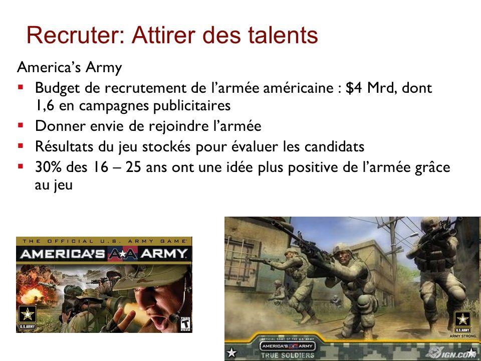 Recruter: Attirer des talents Americas Army Budget de recrutement de larmée américaine : $4 Mrd, dont 1,6 en campagnes publicitaires Donner envie de r
