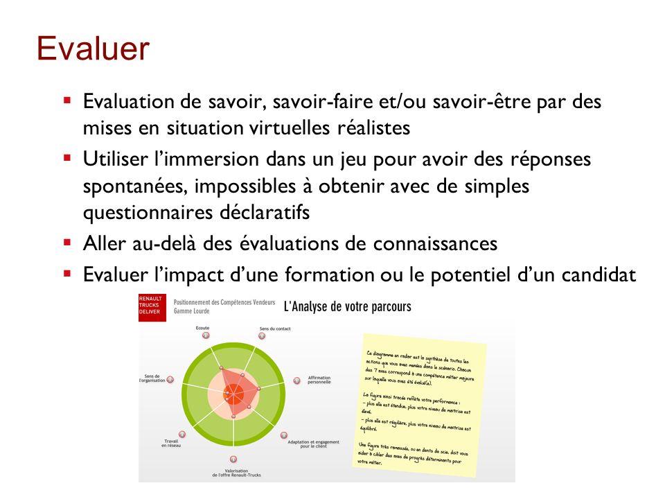 Evaluer Evaluation de savoir, savoir-faire et/ou savoir-être par des mises en situation virtuelles réalistes Utiliser limmersion dans un jeu pour avoi