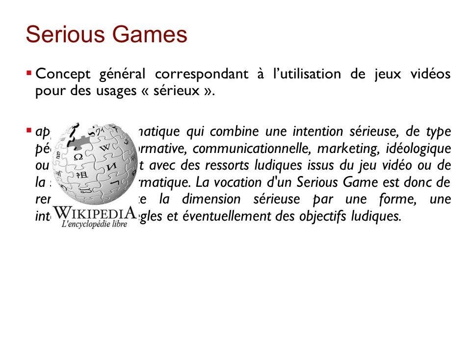 Serious Games Concept général correspondant à lutilisation de jeux vidéos pour des usages « sérieux ». application informatique qui combine une intent