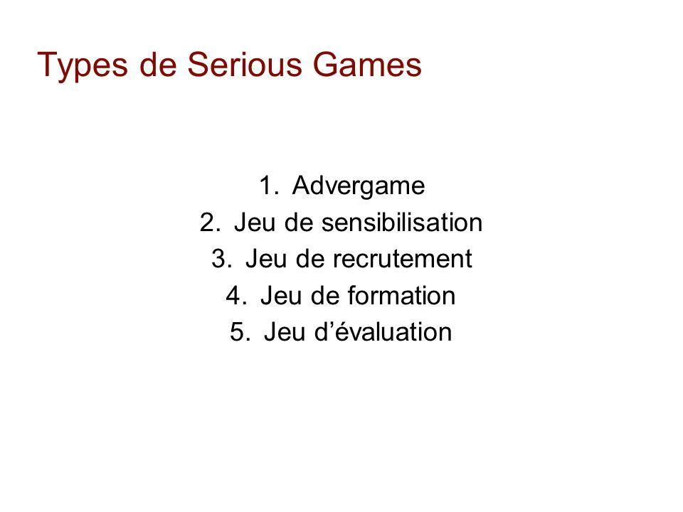 Types de Serious Games 1. Advergame 2. Jeu de sensibilisation 3. Jeu de recrutement 4. Jeu de formation 5. Jeu dévaluation