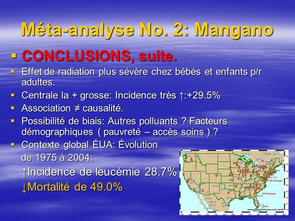 Méta-analyse No. 2: Mangano CONCLUSIONS, suite. CONCLUSIONS, suite.