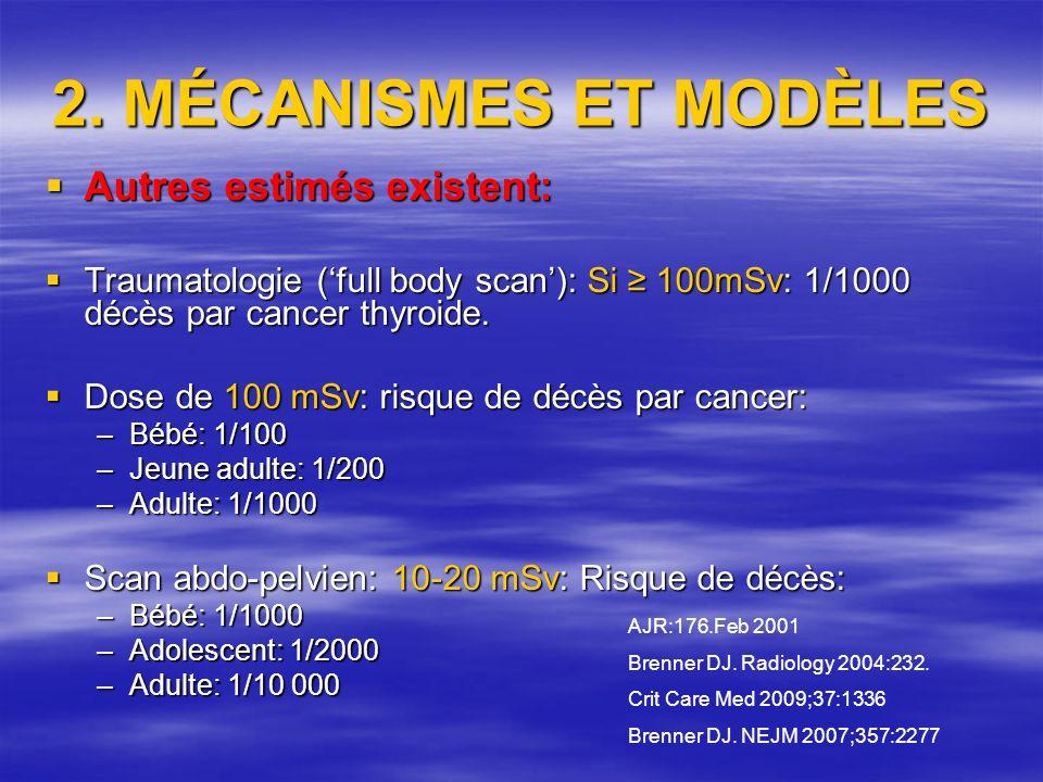 2. MÉCANISMES ET MODÈLES Autres estimés existent: Autres estimés existent: Traumatologie (full body scan): Si 100mSv: 1/1000 décès par cancer thyroide