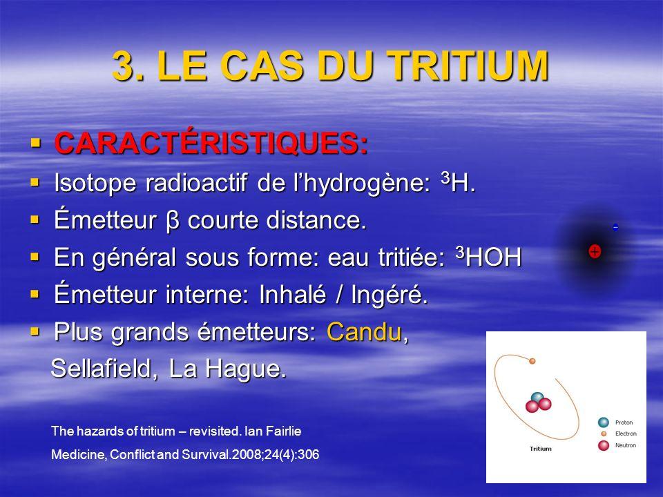 3. LE CAS DU TRITIUM CARACTÉRISTIQUES: CARACTÉRISTIQUES: Isotope radioactif de lhydrogène: 3 H.