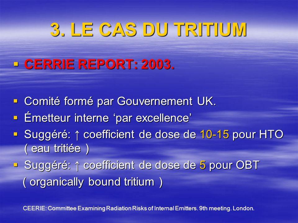 3. LE CAS DU TRITIUM CERRIE REPORT: 2003. CERRIE REPORT: 2003.
