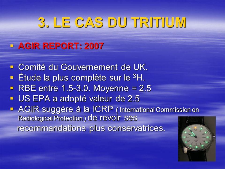 3. LE CAS DU TRITIUM AGIR REPORT: 2007 AGIR REPORT: 2007 Comité du Gouvernement de UK.