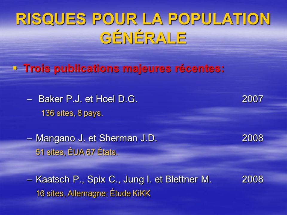 RISQUES POUR LA POPULATION GÉNÉRALE Trois publications majeures récentes: Trois publications majeures récentes: – Baker P.J.