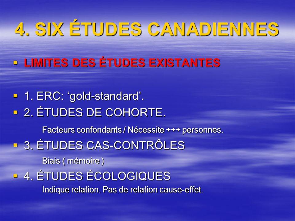 4. SIX ÉTUDES CANADIENNES LIMITES DES ÉTUDES EXISTANTES LIMITES DES ÉTUDES EXISTANTES 1.