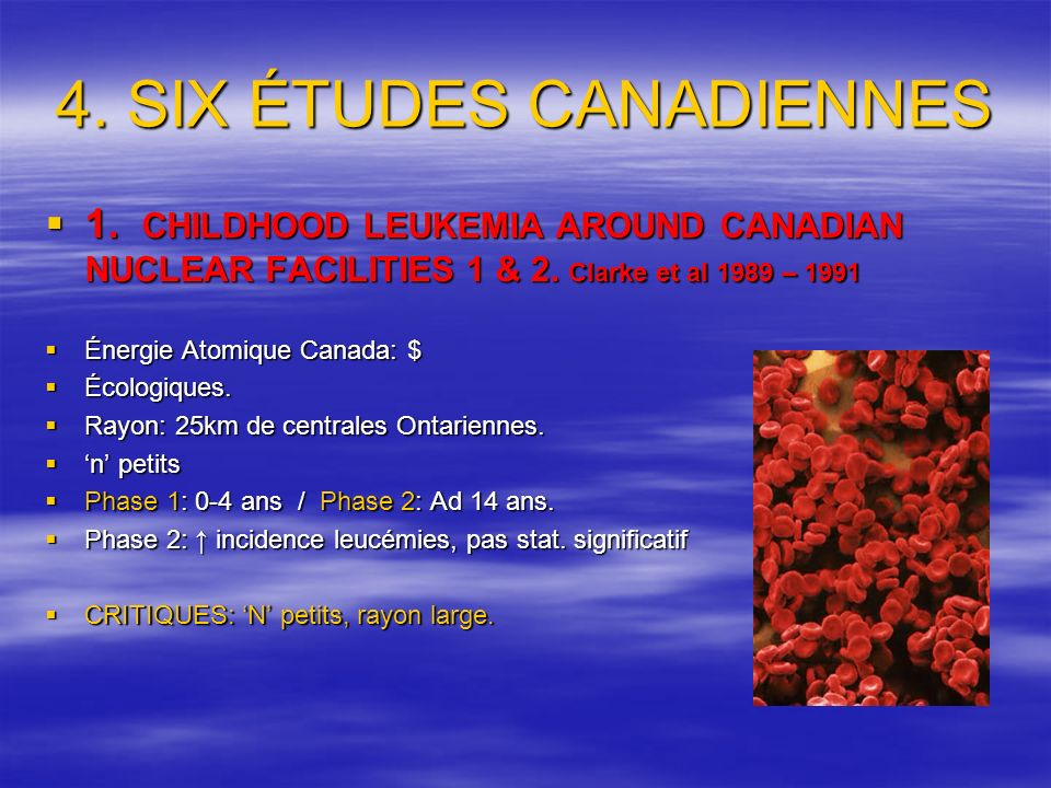 4. SIX ÉTUDES CANADIENNES 1. CHILDHOOD LEUKEMIA AROUND CANADIAN NUCLEAR FACILITIES 1 & 2.