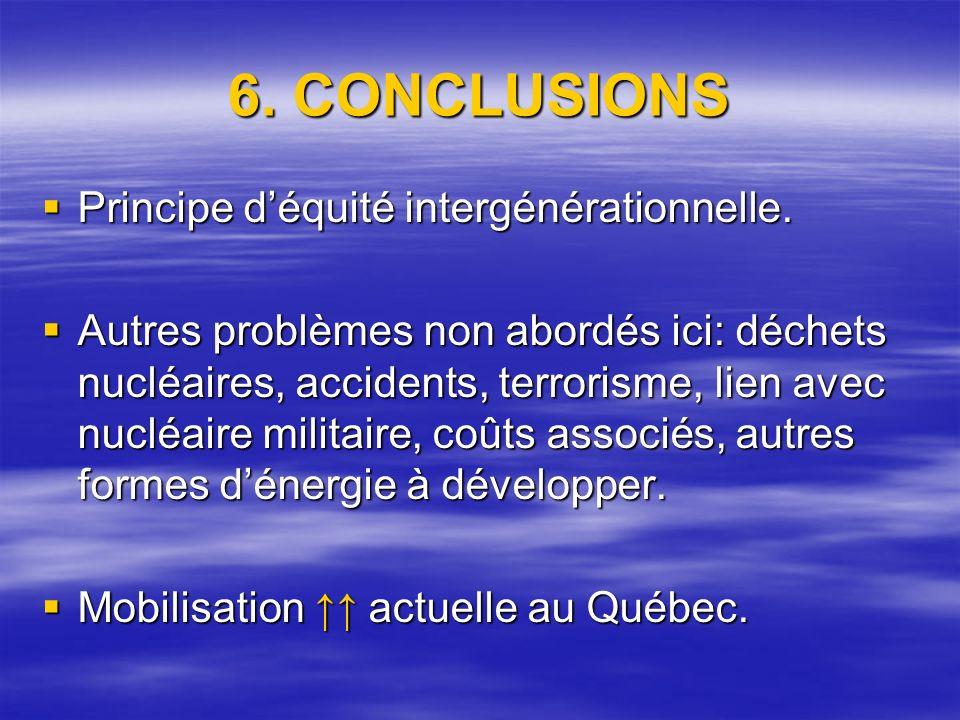 6. CONCLUSIONS Principe déquité intergénérationnelle.