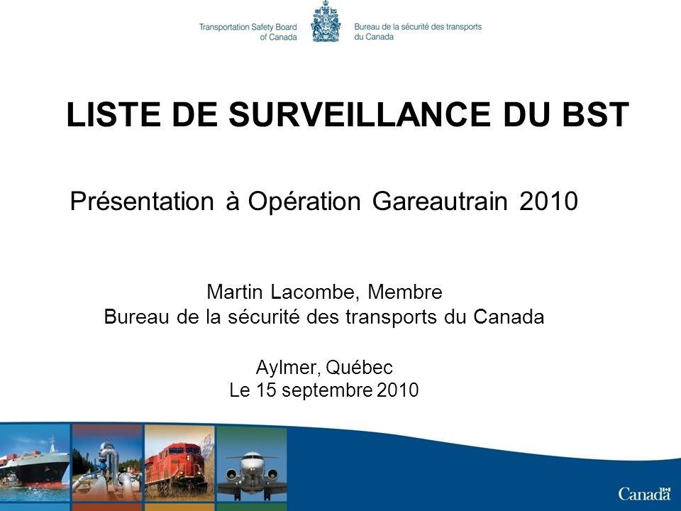 LISTE DE SURVEILLANCE DU BST Présentation à Opération Gareautrain 2010 Martin Lacombe, Membre Bureau de la sécurité des transports du Canada Aylmer, Québec Le 15 septembre 2010