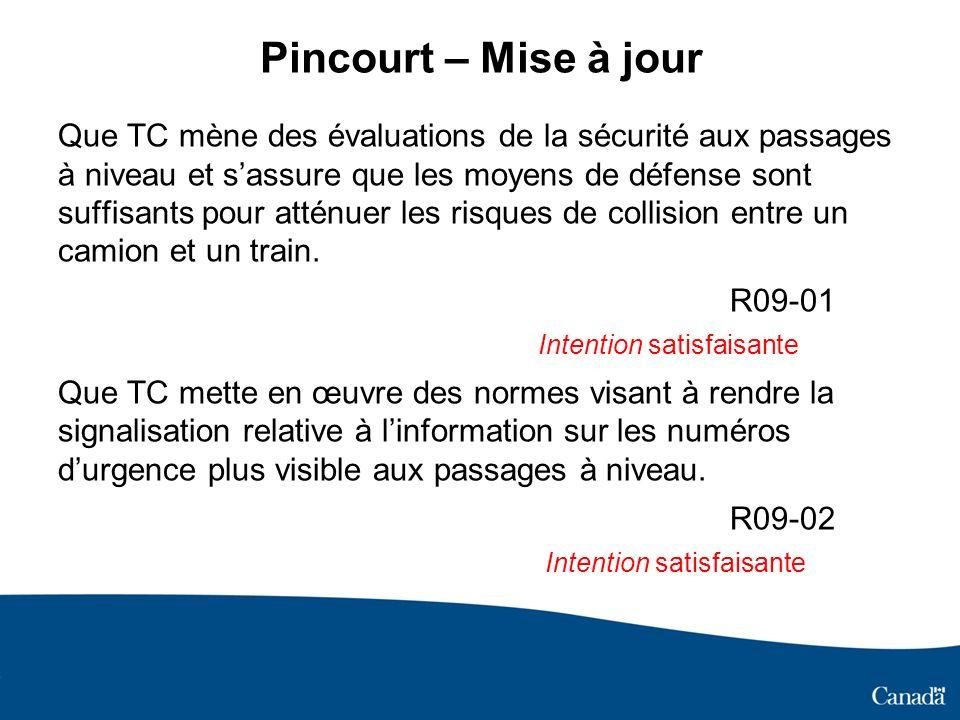 Pincourt – Mise à jour Que TC mène des évaluations de la sécurité aux passages à niveau et sassure que les moyens de défense sont suffisants pour atténuer les risques de collision entre un camion et un train.