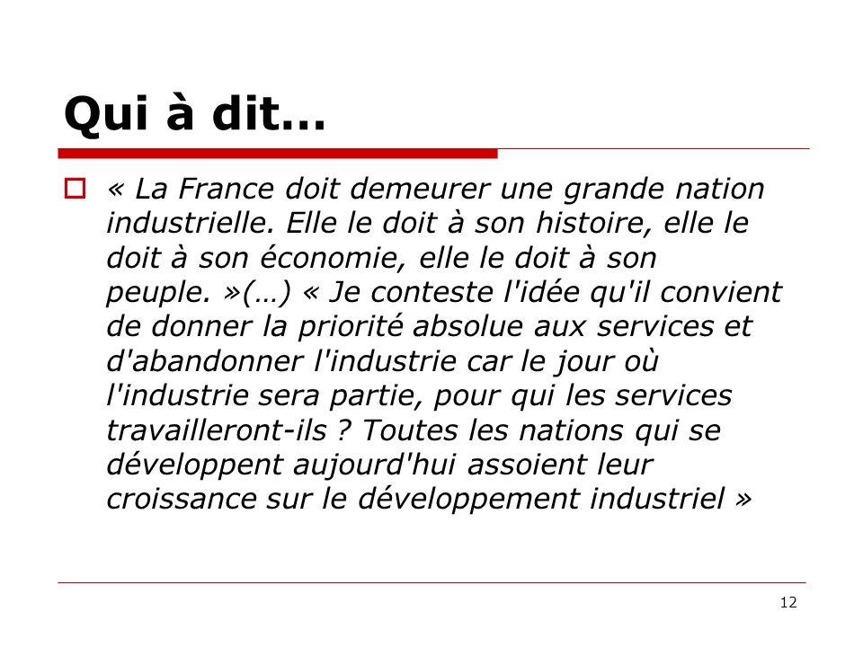 Qui à dit… « La France doit demeurer une grande nation industrielle.
