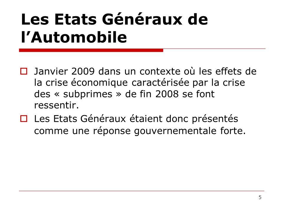 Les Etats Généraux de lAutomobile Janvier 2009 dans un contexte où les effets de la crise économique caractérisée par la crise des « subprimes » de fin 2008 se font ressentir.