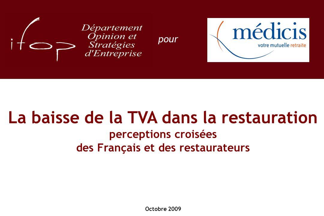 Octobre 2009 pour La baisse de la TVA dans la restauration perceptions croisées des Français et des restaurateurs