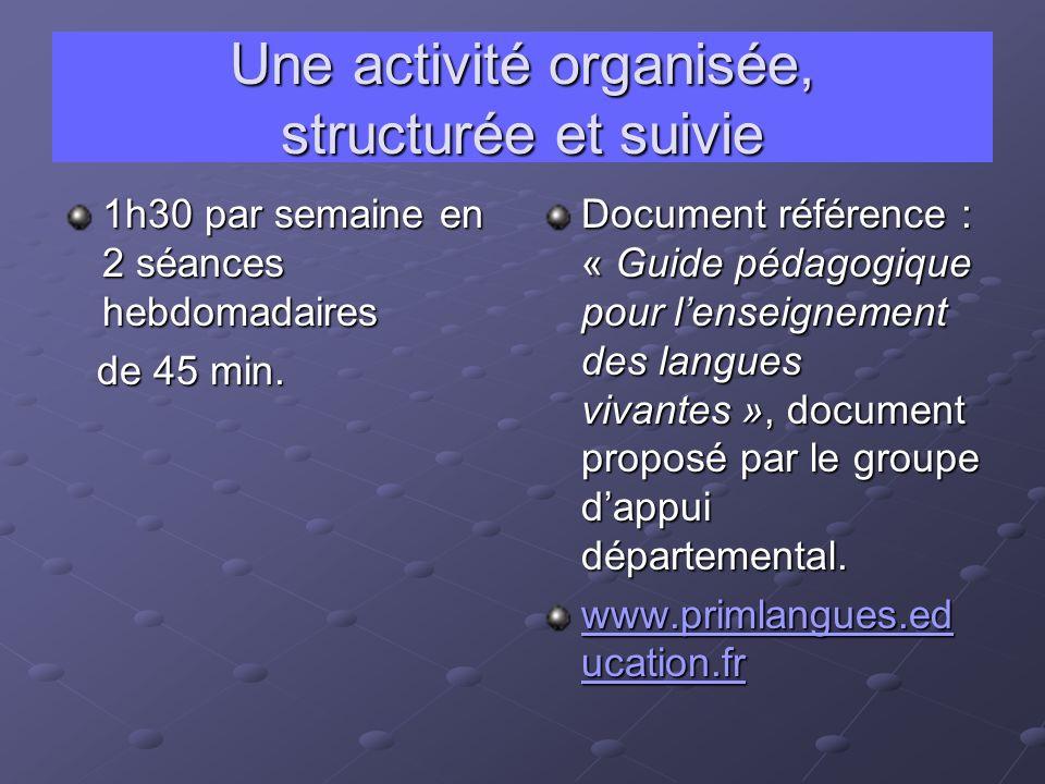 Une activité organisée, structurée et suivie 1h30 par semaine en 2 séances hebdomadaires de 45 min.