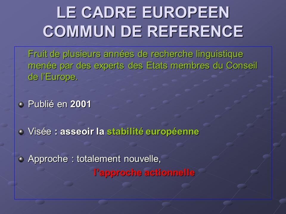 LE CADRE EUROPEEN COMMUN DE REFERENCE Fruit de plusieurs années de recherche linguistique menée par des experts des Etats membres du Conseil de lEurop