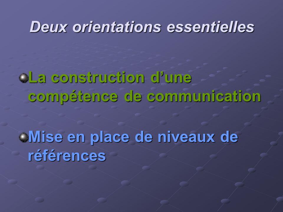 Deux orientations essentielles La construction dune compétence de communication Mise en place de niveaux de références