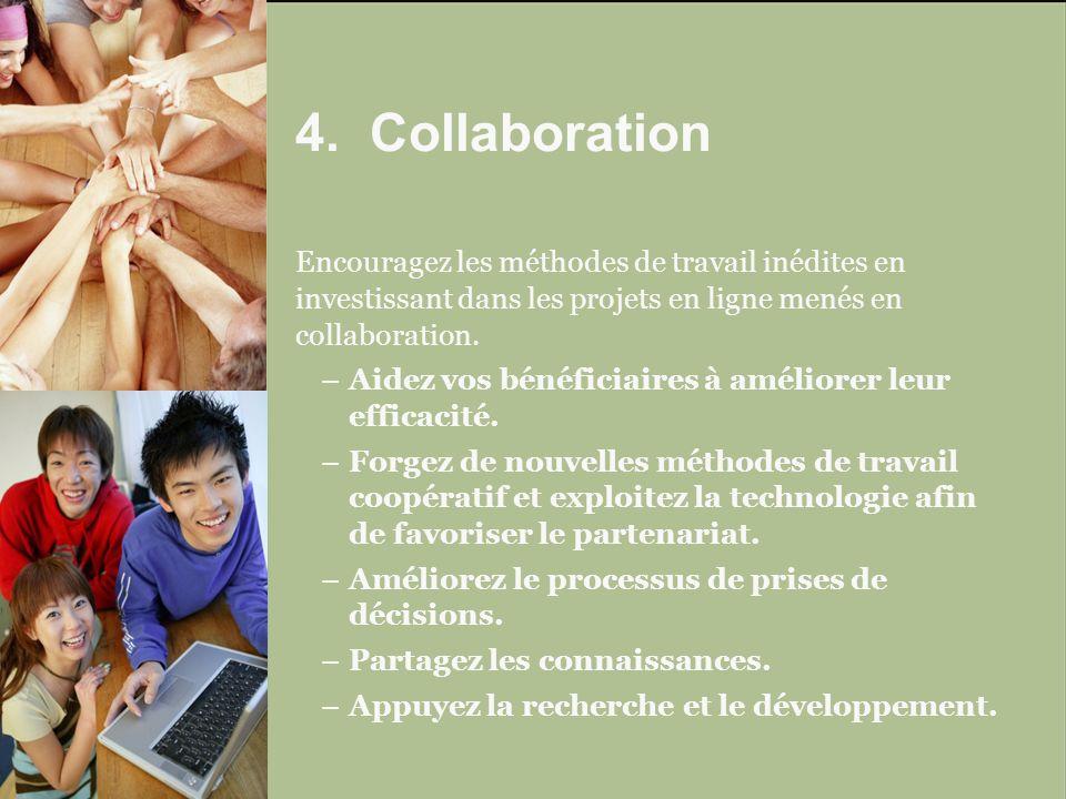 Encouragez les méthodes de travail inédites en investissant dans les projets en ligne menés en collaboration.