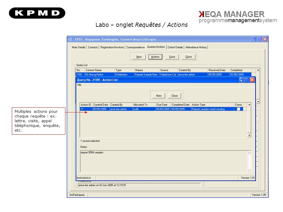 Labo – onglet Requêtes / Actions programmemanagementsystem Multiples actions pour chaque requête : ex.