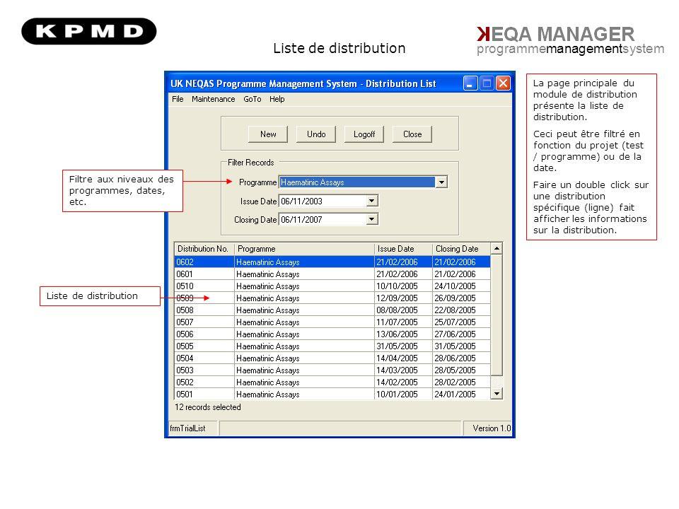 Liste de distribution programmemanagementsystem Filtre aux niveaux des programmes, dates, etc.