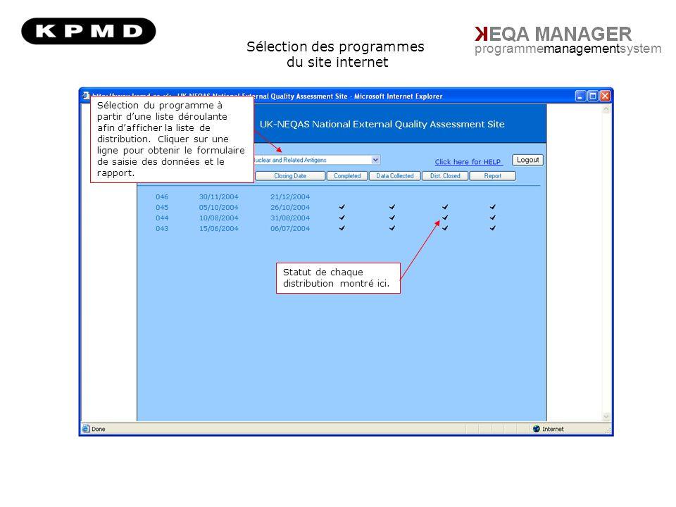 Sélection des programmes du site internet programmemanagementsystem Sélection du programme à partir dune liste déroulante afin dafficher la liste de distribution.