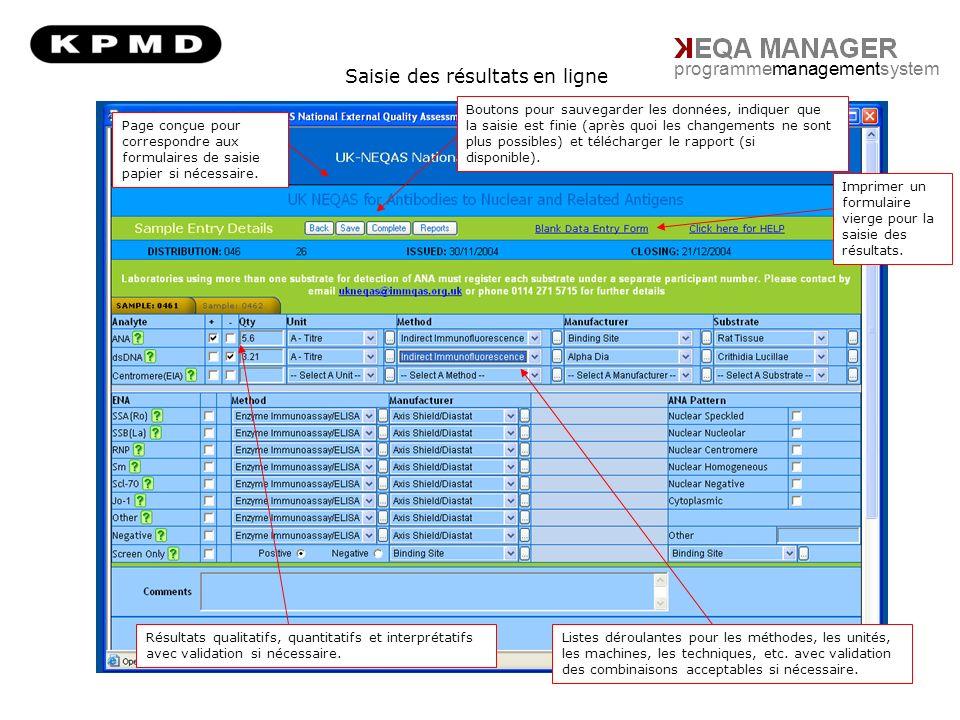 Saisie des résultats en ligne programmemanagementsystem Page conçue pour correspondre aux formulaires de saisie papier si nécessaire.