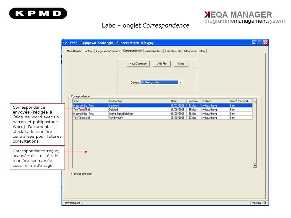 Labo – onglet Correspondence programmemanagementsystem Correspondance envoyée (rédigée à laide de Word avec un patron et publipostage Word).