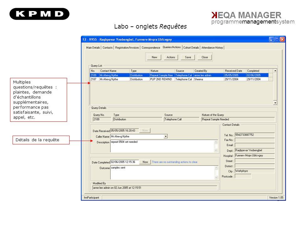 Informations sur la distribution programmemanagementsystem Informations sur la distribution Rapports daudit / points clés Détails des échantillons Résumé des données