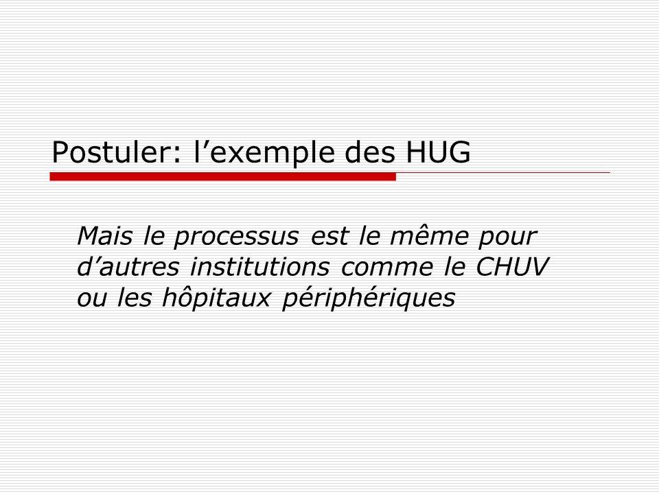 Postuler: lexemple des HUG Mais le processus est le même pour dautres institutions comme le CHUV ou les hôpitaux périphériques